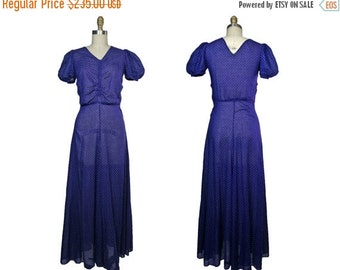 Summer Sale 1930s Navy Blue Cotton Swiss Dot Maxi Dress with Puff Sleeves