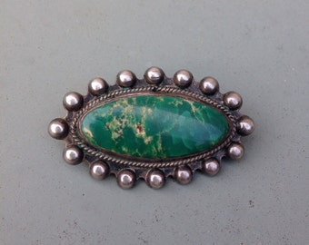 Cerillo Turquoise and Silver Pin