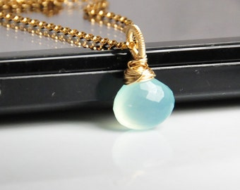Aqua chalcedony necklace, gemstone necklace, choker, wire wrapped, 14K gold filled metal, birthstone necklace, cute little gem necklace