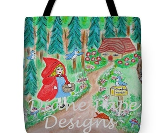 NEW!! Little Red Riding Hood Tote Bag - Choose Grandma or Other Name for the Mailbox, Nursery, Toy Bag, Durable Square Canvas Bag, 3 Sizes