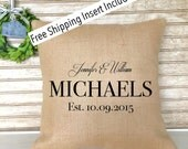 Wedding Gift - Bridal Shower Gift - Bride & Groom - Personalized Burlap Pillow - Insert Included - FREE SHIPPING
