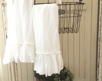 Ruffled Tea Towels | Cotton Ruffles | Tea Towels | Farmhouse Towels | Shabbychic Decor | Cottage Home