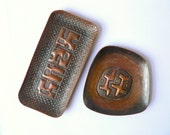 Pair of Bronze Brutalist Dishes - Signed Americo and NAG - Abstract Modern Copper Tray - Modernist