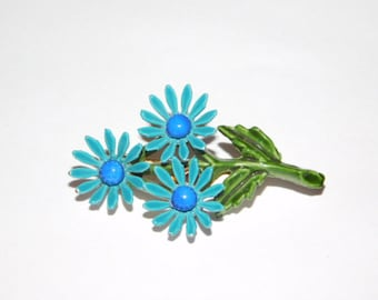 Vintage Blue Daisy Bouquet Brooch Enameled