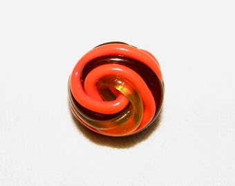 Extruded Celluloid 3 Color Knot Button in Orange Chocolate Brown and Apple juice