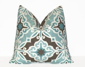"""SALE Decorative Pillow COVERS 18"""" Aqua Blue Brown Throw Pillows ONE Pillow Cover Cushion Cover Slipcover Suzani All Sizes Modern Ikat 46 cm"""