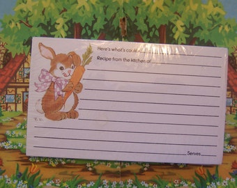 bunny with carrot recipe cards