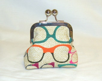 Happy Little Coin Pouch in Cotton Novelty Eyeglass Print