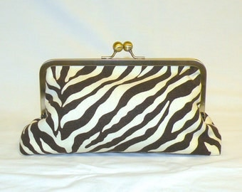 Zebra Print Full Sized Clutch in Chocolate Brown and Cream
