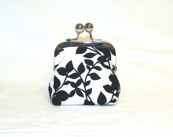 Happy Little Coin Pouch in Black Leaf Pattern on White