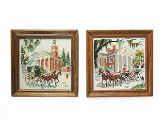 "A Pair of Vintage Paint-by-Number Paintings ""Horse Drawn Carriages in Antebellum South"""