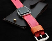 Apple Watch Leather Band in Caviar Pattern Embossed calf CORAL RED (Black or Silver Buckle)