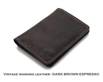 Vintage Washing Italian Genuine Leather Slim Wallet in DARK BROWN ESPRESSO {Hand Stitched}