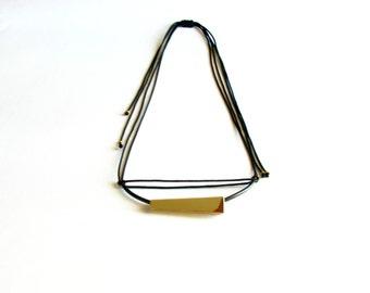 Geometric Tube Necklace-Oxidized-Gold Bib Necklace-Tube Necklace-Geometric Gold Necklace-Brass Tube Necklace-Contemporary Jewellery