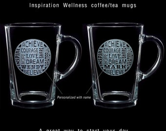 Set of 2 INSPIRATION WELLNESS Large Square COFFEE Mugs Tea Cups Anniversary Engagement Wedding Parents Honeymoon Ships to Canada