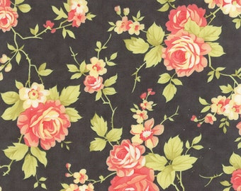 Moda Fig Tree Farmhouse Quilt Fabric Large Floral Black Coral - By The 1/2Y