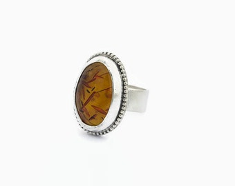 Baltic Amber Ring in Sterling Silver Handcrafted Size 7.5