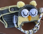 Diaper Cover/Owl Hat Set for 0-3 Month Baby  or Reborn Doll in Gray with Yellow Trim