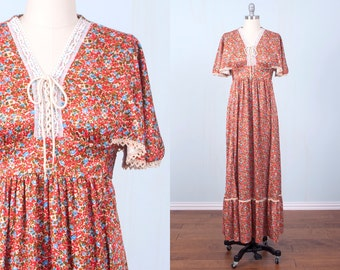 70's Maxi Dress / Hippie Corset Butterfly Sleeve Prairie Boho Gunne Sax Floral Empire Waist / Small Medium