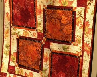 Fall Leaf Wall Hanging in Red, Orange and Cream