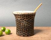 milk pitcher danish handmade black brown polka dots unique vessel thrown on wheel by polli pots scandinavian studio pottery