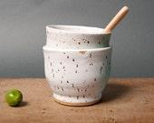 cups white blue danish speckled handmade kitchen unique vessels by polli pots scandinavian studio pottery poterie ceramica
