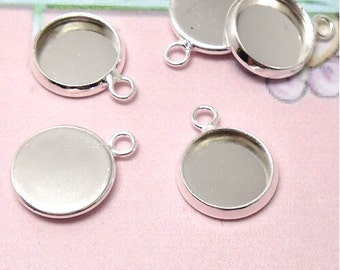 50 Brass Silver Plated Round Cabochon Mounting W/ Ring, 10mm/ 12mm/ 14mm/ 16mm/18mm/ 20mm as your choice