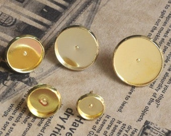 100 Post Earrings- Brass Gold Plated Ear Studs W/ 8mm/ 10mm/ 12mm/ 14mm/16mm Round Bezel Setting + Matching Rubber Ear Nuts Wholesale- Z5376