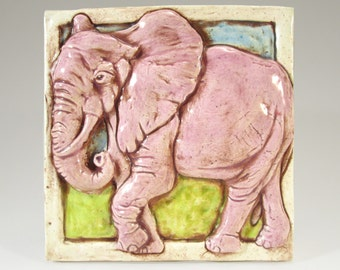 PINK ELEPHANT Ceramic Art Tile, Wall Art, 4 x 4 Handmade Tile