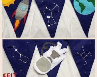 Felt Space bunting, astronaut, constellations, stars, rocket, spaceship, earth, handmade room decoration, boys room