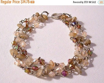 ON SALE Pink Brown Rock Triple Strand Bracelet Silver Tone Vintage Iridescent Faceted Beads Round Chain Links Lobster Claw Clasp