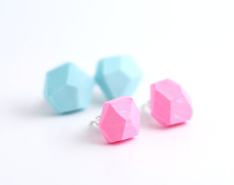 Stud earrings Diamond shape Geometric post earrings set of two pairs - pastel pink and light blue