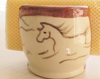 Sponge Holder  Ceramic Pottery Handmade Pottery Cell Phone Holder Letter Holder Gift Idea Stoneware Brown Horse  Design