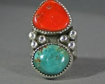 Ladies Bisbee mine Turquoise and red Medtereanean coral  silver ring  modernest James Saunders artsit ,  JS-rg-401
