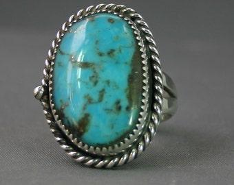 Mans Turquoise ring  Kingman Mine size 12-13-14-  Jim Saunders artsit , JS-RG-483