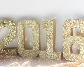 Sale 2017 GLITTER New Years Numbers Glittered Free Standing Gold Silver Number Congrats Grad Party Decor Sign Signage Election Campaign