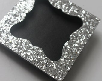 mini glitter frame w chalkboard insert photo silver glittery sparkle picture frame table numbers escort cards place name favor gatsby bling