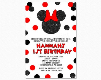 Red and Black Minnie Mouse Birthday Party Invitation, Glitter Minnie Mouse, Black Glitter, Red and Black Polka Dots, Printable Invitation