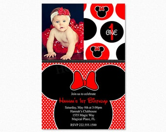 Minnie Mouse Birthday Party Invitation, Red, Black, Polka Dots, 1st Birthday, Photo, Printable or Printed