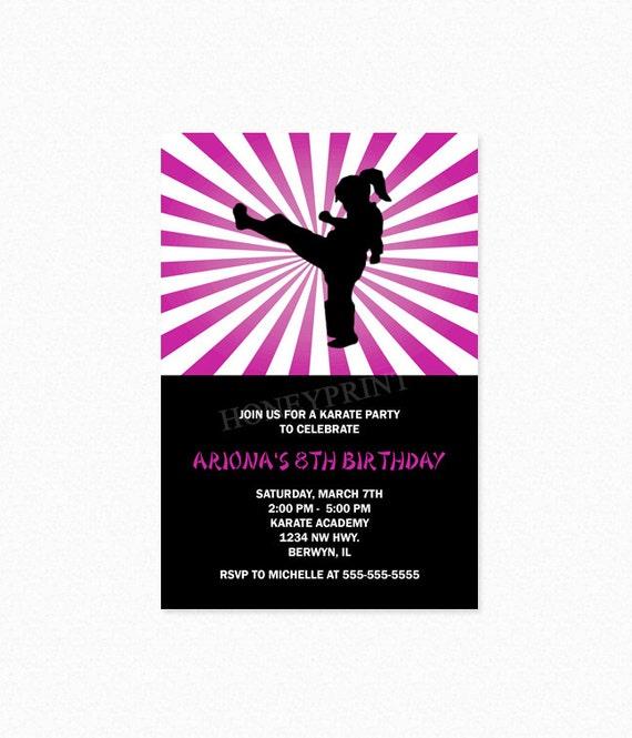 Karate Birthday Party Invitation Ninja Birthday Party