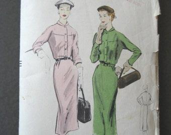 Vintage 1952 Fitted Shirtwaist Dress Pattern Long Pencil Skirt Mandarin Style Collar Vogue 7726 Size 14