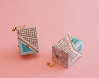 "Huge Earrings // Marble Earrings // Geometric Earrings // Op Art Earrings // Mod Earrings // Statement Earrings // The ""Rudi"""