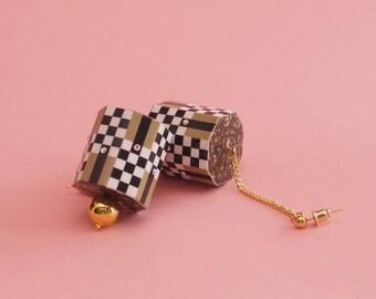 """60s Inspired Earrings // Mod Earrings // Geometric Earrings // Op Art Earrings // Art Deco Earrings // The """"Checkers"""""""