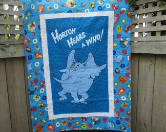Dr Seuss Baby Quilt, Horton Hears a Who, Unisex Crib Bedding, Seuss Nursery Decor, Dr Seuss Baby Shower Gift,