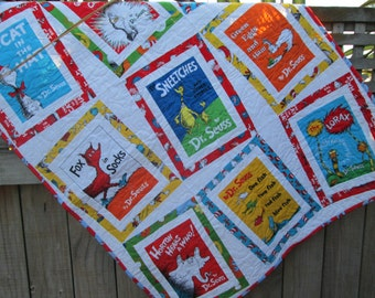 Baby Quilt Dr Seuss Book Titles, Cat in the Hat, Lorax Baby Bedding, Seuss Nursery MADE TO ORDER