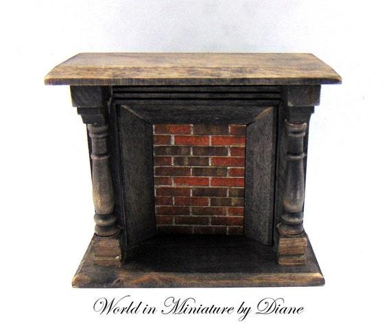 Dollhouse Fire Tudor Fireplace Rustic Furniture Ebony Fire