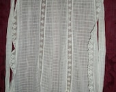 Antique Victorian Edwardian Fine Cotton and Lace Apron