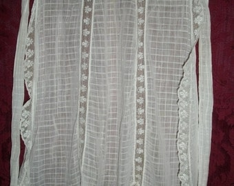 Antique Victorian Edwardian Fine Cotton and Lace Apron