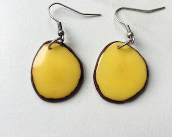 SMALL Yellow Earrings. Tagua nut jewelry. Lemon Earrings. eco friendly jewelry. Sela Designs / Charity non-profit. Light weight earrings