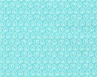 Michael Miller Petite Hearts Aqua Fabric - 1 yard